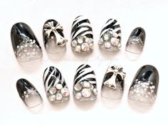 Gyaru Japanese nail art acrylic nails black and white by Aya1gou, $23.00