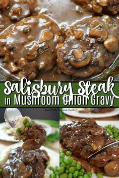 Salisbury Steak in Mushroom Onion Gravy is a delicious homemade comfort food recipe made with oval-shaped ground beef patties, pan seared, cooked in a rich, savory, mushroom onion gravy. # recipes Salisbury Steak in Mushroom Onion Gravy Baked Salisbury Steak Recipe, Homemade Salisbury Steak, Salsbury Steak Gravy, Salisbury Steak Recipe Pioneer Woman, Steak Gravy Recipe, Brown Gravy Recipe, Salisbury Steak Meatballs, Quick Hamburger, Hamburger Patties Recipe