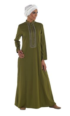 This Abaya is inspired from a fusion of the Egyptian and Moroccan cultures! Short collar, hidden buttons from the neck to navel and flap over the buttons. Fabric Outer layer: Soft Poly Crepe with a silky feel. Fabric inner layer: light knitted fabric to keep the garment light and non see through