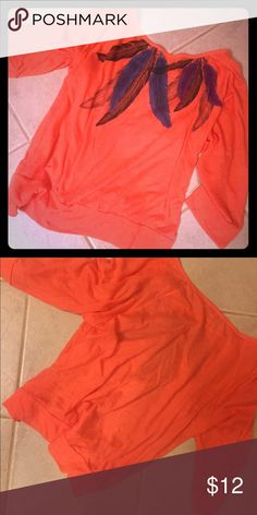 Orange feathered long sleeve Orange, feathered, soft 3 quarter length sleeve PacSun Tops Tees - Long Sleeve
