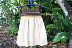 Little Girls Bohemian Style Hmong Dress Brown Embroidery With Pumpkin Accents On Ivory Cotton