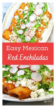 Red Enchiladas Recipe - Receta de Enchiladas Rojas. Easy and insanely flavorful. In my hometown, it is common to have enchiladas for breakfast or brunch. Authentic Mexican Recipes, Mexican Food Recipes, Vegan Recipes, Delicious Dinner Recipes, Appetizer Recipes, Red Enchiladas, Real Mexican Food, Enchilada Recipes, Mexican Dishes