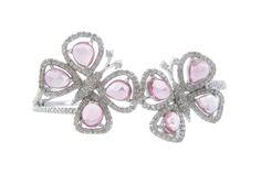 Pink Sapphire Diamond Butterfly Bangle