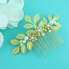 Gold Wedding Hair Comb Gold Leaf Comb Gold by AllureWeddingJewelry