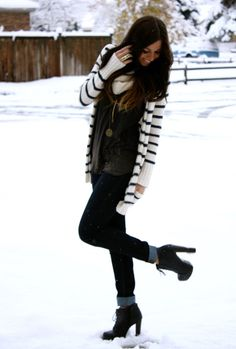 Winter Wear. Yes yes yes ... cuffed jeans!