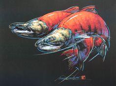 Sockeye Salmon – Print of Pastel Drawing   Dan Chen - Nature and Wildlife Artist