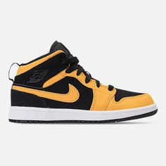 Right view of Little Kids  Air Jordan 1 Mid Basketball Shoes in Black  University d5db4657d2