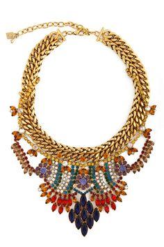 #Dannijo #jewelry #necklace #statement #stones #royal #rhinestones #gold #fashion #unique #fabulous #colorful