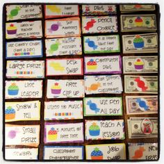 Sweets themed classroom management bundle...money and reward coupons (pictured) and also a sweets clip chart. $