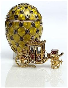The Imperial Coronation Egg, 1897.  The egg was made to commemorate the 1896 Coronation of Czar Nicholas II. The valuable piece of Russian history was then presented as a gift to his spouse, the Tsaritsa, Empress Alexandra Fyodorovna.