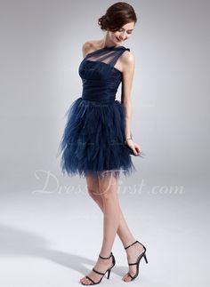 Forme Princesse Encolure asymétrique Court/Mini Tulle Robe de cocktail avec Plissé (016008363)