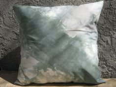 "Mint/Green Shibori Pillow Cover, ShiboriTie dye,Cotton 18"" x 18"", Mint, Green, beige, Throw pillow cover, Home decor, Housewarming gift"