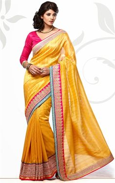 Adorable Yellow Color Silk Saree for Party