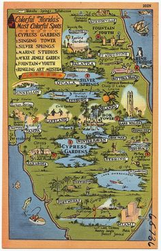 Map of colorful attractions of Florida