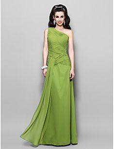 Sheath / Column One Shoulder Floor Length Chiffon Prom Formal Evening Military Ball Dress with Criss Cross by TS Couture® – USD $ 370.00
