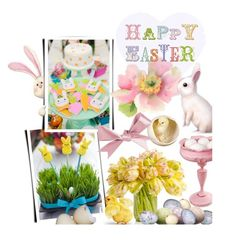 """Happy Easter"" by hellodollface ❤ liked on Polyvore featuring interior, interiors, interior design, home, home decor, interior decorating and bunnieschicks"