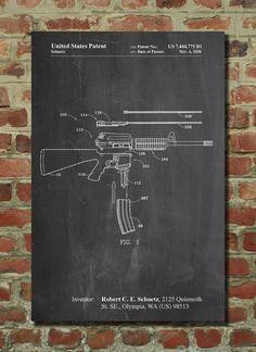 AR 15 Patent Print AR 15 Gun Gun Art Military Art by PatentPrints