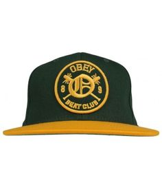 0e5962a4fc7 Obey Clothing Beat Club Snapback Hat - Hunter Green Gold  28.00  obey