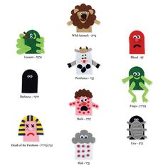 Passover Gifts - Passover 10 Plagues Finger Puppets #Passover #Arts & Crafts