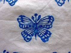 Custom Made Fabric Hand Printing Butterflies Fabric On Voile Cotton Material  Butterflies Block Print Fabric can be customized in any color that you want. I use traditional wooden handmade blocks to individually hand stamp this design on the fabric. The fabric I use is a white fine quality, light weight voile cotton fabric from India. The design covers the entire fabric with some gaps between to give it a aesthetic look.