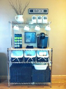 DIY Coffee Bar | coffee bar DIY bakers rack
