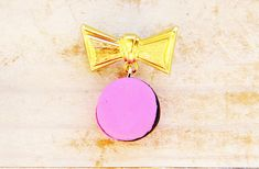 "Bow tie macaron brooch jewelry pin polymer clay charm pink black brass metal gold 1"" knot unique Mother's Day gift kids hand made gift"