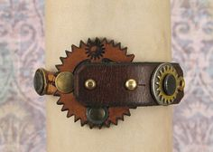 066 Steampunk Boho Bracelet Recycled Jewelry Art Deco Machine Age