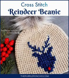 Crochet Hats Design Crochet the beanie and add some cross stitch to make this cute Reindeer design. Get the free pattern on The Purple Poncho - Crochet by Carolyn Crochet Beanie, Knit Or Crochet, Crochet Crafts, Crochet Projects, Free Crochet, Crocheted Hats, Knit Hats, Crochet Ideas, Pom Pom Tutorial