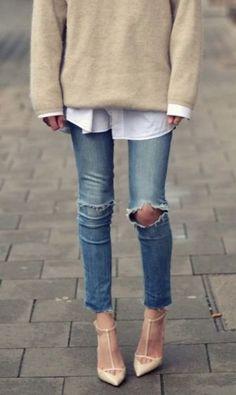 Skinny jeans Z Cavaricci Jeans – modilys Looks Street Style, Looks Style, Style Me, Simple Style, Z Cavaricci Jeans, Outfit Chic, Comfy Outfit, Look Jean, Estilo Jeans