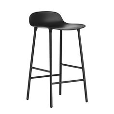 Formbarstool from Normann Copenhagen features the same clean-lined and innovative design as the collection's chairs: its rounded legs are joined to the seat with a cup system which gives the barstool its unique and contemporary look. The rounded plastic seat is easy to keep clean, and the footrest offers added comfort.