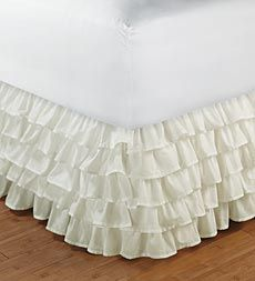 Multi-Layered Cotton Ruffle Bed Skirt for little girls bedroom  We could even make it with colors for Ella