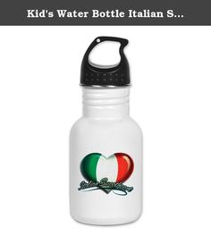 Kid's Water Bottle Italian Sweetheart Italy Flag. Product Number: 0001-1493522361 Perfect for school lunches or soccer games, our kid's stainless steel water bottle quenches children's thirst for individuality. Personalized for what kids love, it's both eco-friendly and compact. Made of 18/8, food-grade stainless steel. * No lining & no BPA or other toxins * Wide mouth for easy drinking * Durable, BPA-free & phalate-free screw-on top * Holds 0.35L (nearly 12 ounces) * Thin profile to fit...