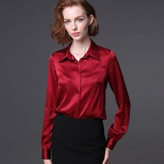 Women real silk Blouse long sleeve Solid shirt Blusas femininas Office lady style Simple button shirt CUSTOM MADE Plus size(China (Mainland)) Office Fashion Women, Womens Fashion For Work, Work Fashion, Women's Fashion, Satin Bluse, Spring Shirts, Women Sleeve, Office Ladies, Plus Size Womens Clothing