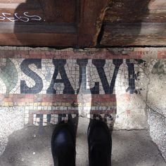 An #artbeneathourfeet piece I found walking around Friedrichshain Berlin.  I see many door steps or entrances in Berlin  have Salve written in this way. Does anyone know why or what it means? #whatdoesthismean #whatsthestory  #Berlin #berlino #art #arte #tiles #mosaic #salve #feet #shoes #selfeet #doorstep #ihavethisthingwithfloors #ihavethisthingwithtiles #ihaveathingwithfloors #ihaveathingforfloors #fromwhereistand #lookdown #tileaddict #tiletuesday #tileaddiction by lucyschmidtart