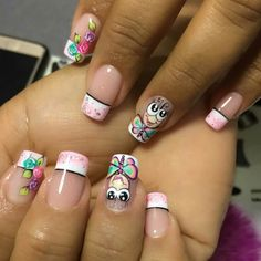 Uñas Little Girl Nails, Girls Nails, Cute Nail Art, Beautiful Nail Art, Love Nails, My Nails, Nail Saloon, Nail Time, Holiday Nail Art