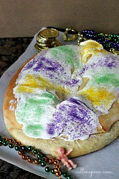 Mardi Gras King Cake - pillowy soft dough is filled with cinnamon sugar cream cheese filling. Best King Cake ever!