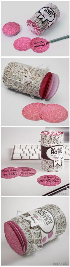 Notas adhesivas de salami.