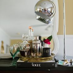 Bar/tea tray instead of a bar cart