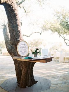 We are loving this table built into the tree! Captured by Charla Storey Photography #bridesofnorthtx #wedding #decor