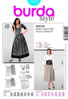 Burda 7277 from Burda patterns is a dirndl sewing pattern