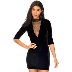 Bebe Bodycon V Neck Dress in Velvet Glitter Lace by Motel ($64) ❤ liked on Polyvore featuring dresses, see through dress, lace cocktail dress, black velvet dress, black sheer dress and black cocktail dresses