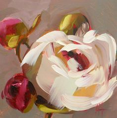 Peonies no. 14 original floral oil painting by moulton 5 x 5 inches on panel prattcreekart