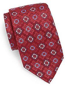 XMI Platinum Medallion-Print Silk & Linen Tie - Red - Size No Size