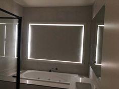 Roller Blinds in bathroom done by Majestic Curtains and Blinds Roller Blinds, Curtains With Blinds, Window Coverings, Bathtub, Windows, Mirror, Bathroom, Furniture, Home Decor