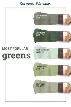 Popular Green Paint Colors - Mother Nature isn't the only one who loves the color green—so do Sherwin-Williams customers. Green Paint Colors, Exterior Paint Colors, Exterior House Colors, Paint Colors For Home, Wall Colors, Natural Paint Colors, Sage Green Paint, Sherwin William Paint, Clary Sage