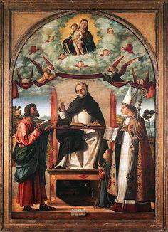 Santo Tomás entre San Marcos y San Luís, de Tolouse Vittore Carpaccio, siglo XVI