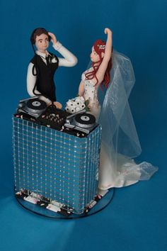 bride and dj groom handmade personalised wedding cake topper with dj decks