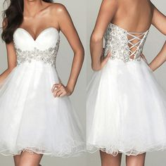 Cocktail Party Dress Short White