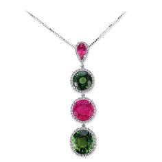 Pink and Green Tourmaline Necklace by Vanna K. Available at Irvine Gold Mine.