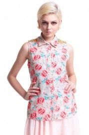 Riveted Floral Print Shirt #Romwe